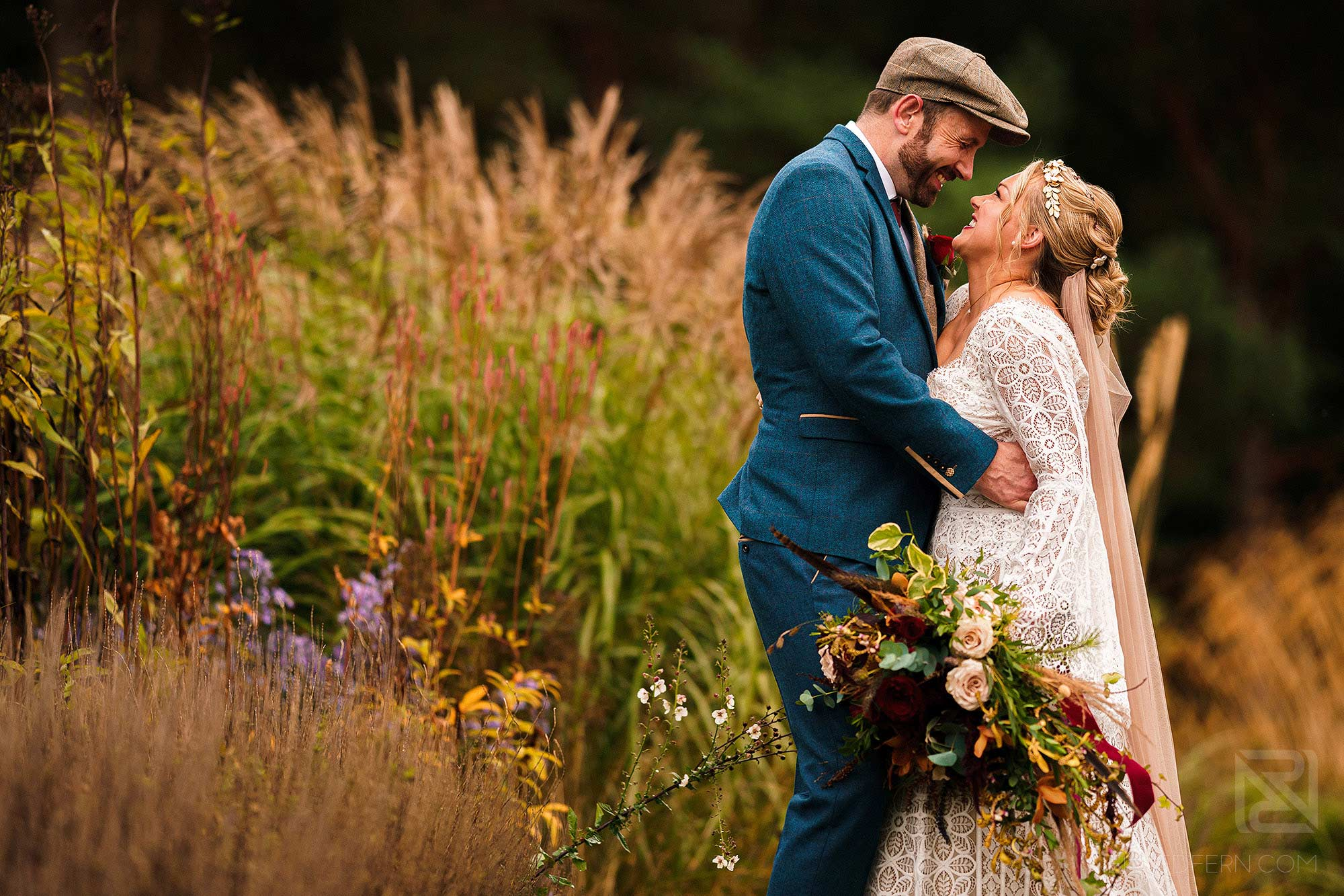 natural light portrait of bride and groom in Abbeywood Estate gardens