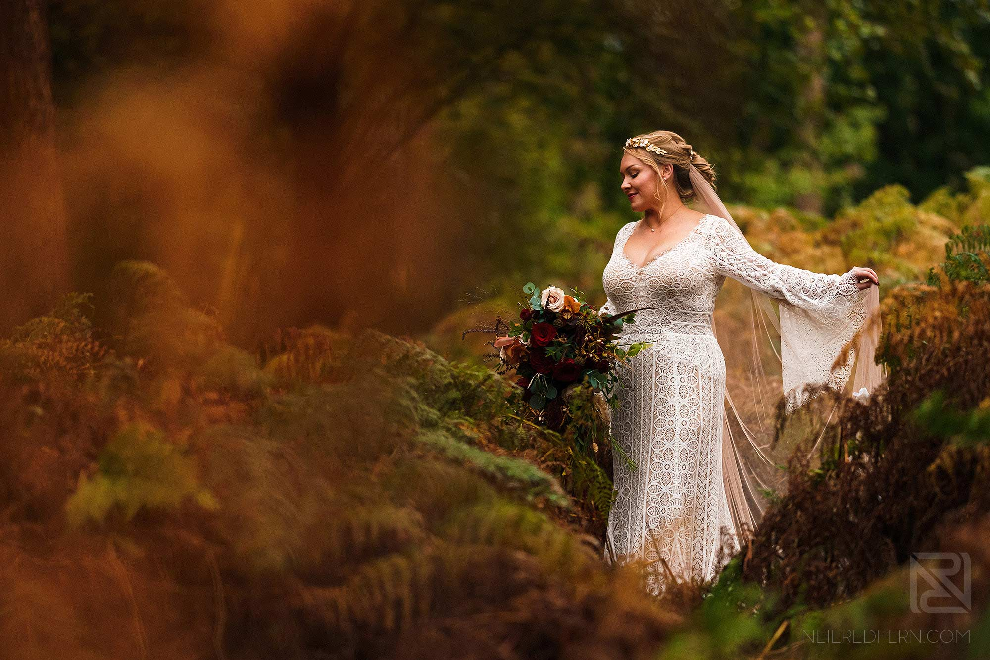 beautiful portrait of bride in forest