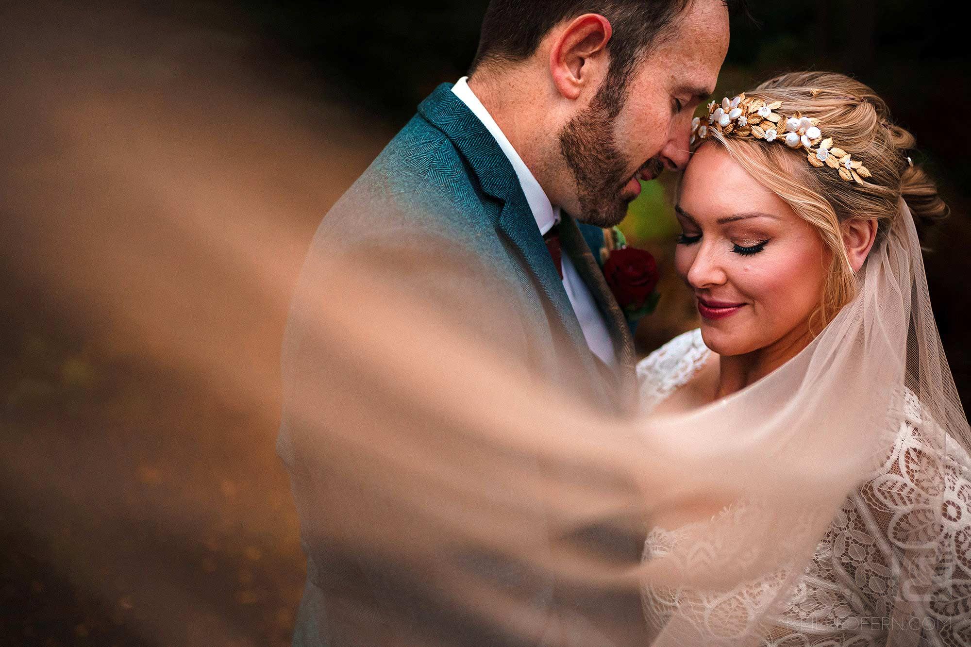 romantic photograph of newlyweds at Abbeywood Estate