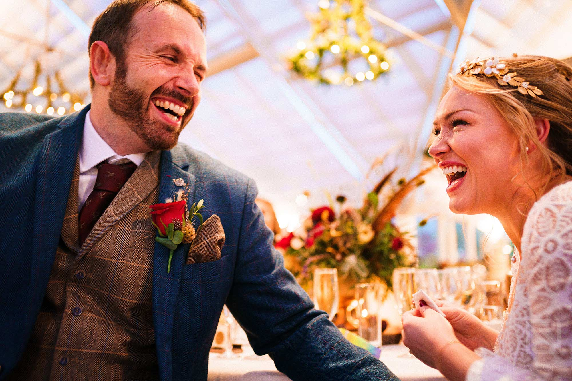 lots of laughter during wedding speeches