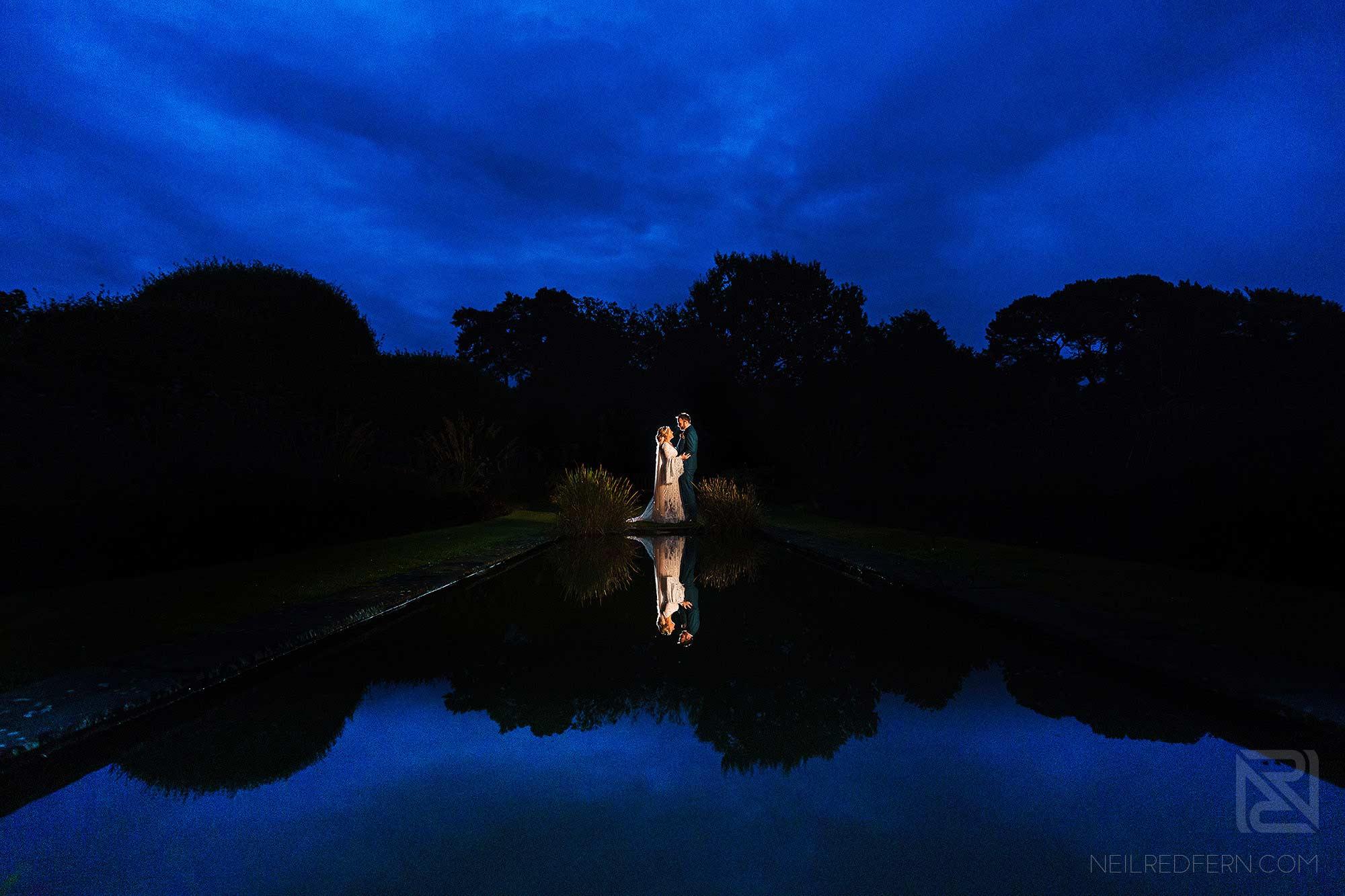 creative off camera flash portrait of bride and groom at Abbeywood Estate wedding