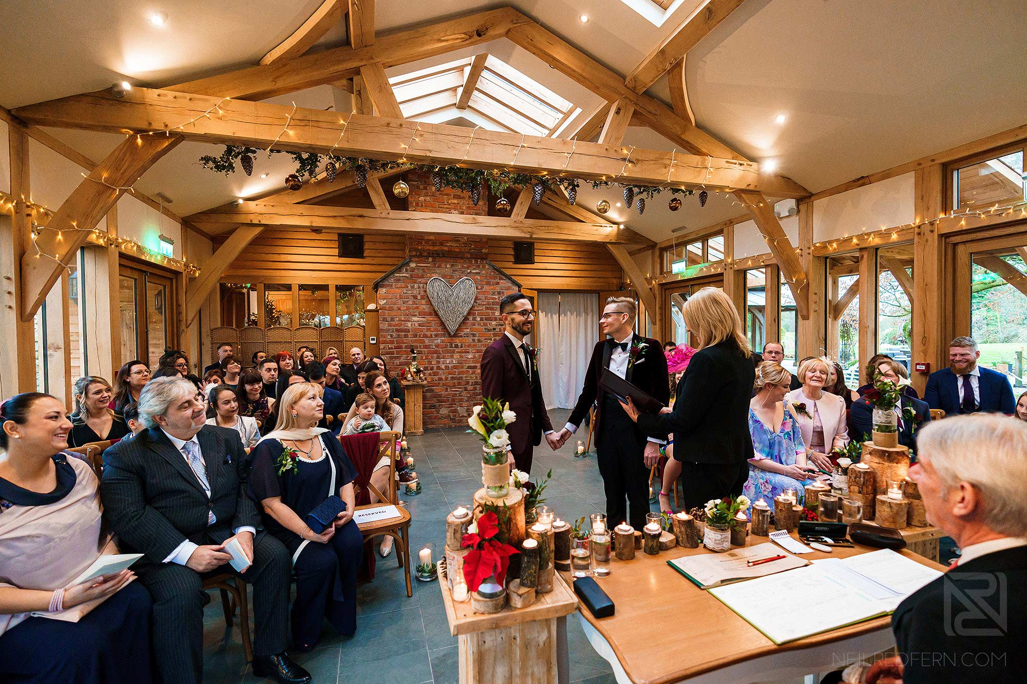 wide angle photograph of the Oak Tree of Peover wedding ceremony