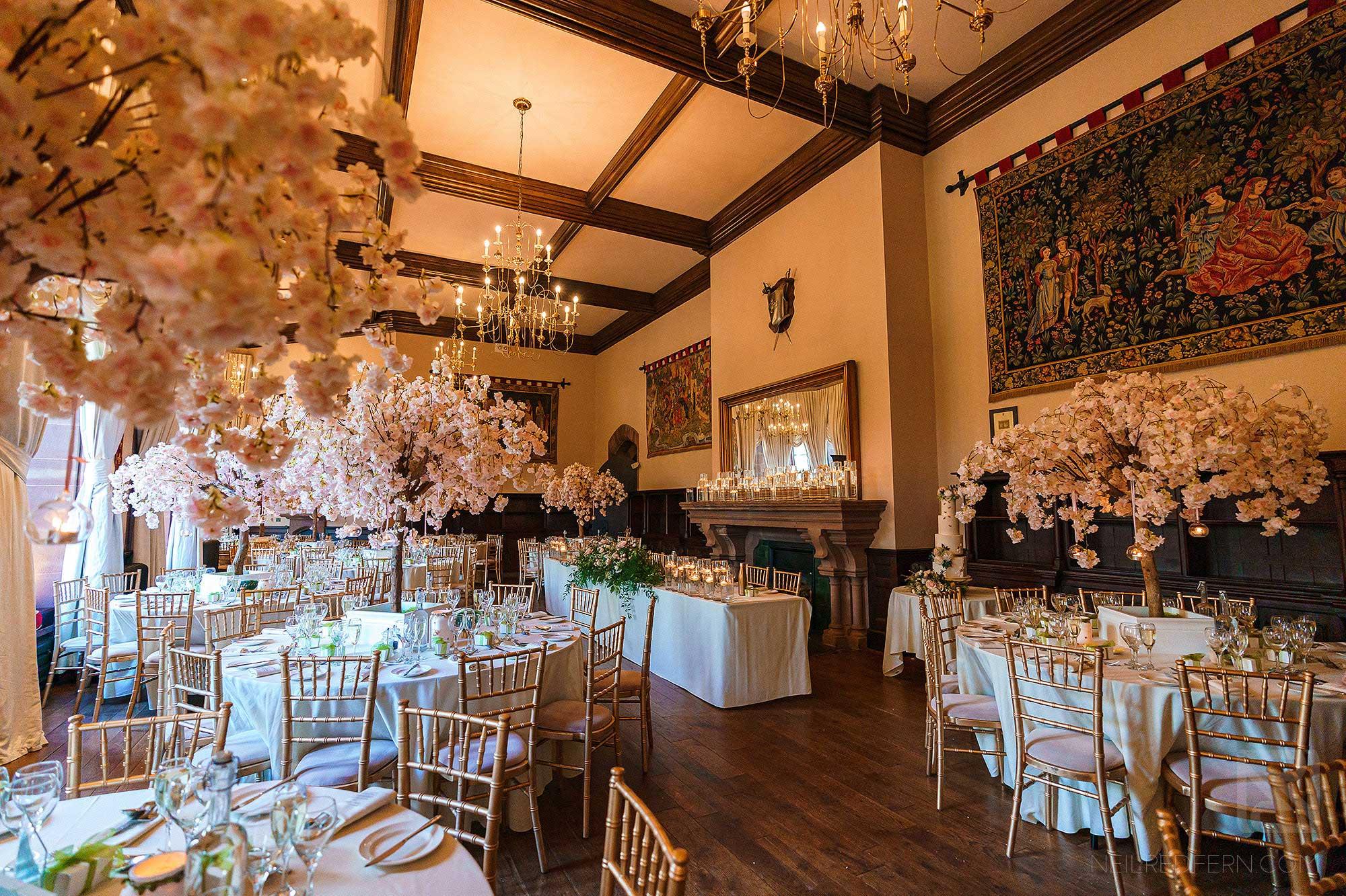 wedding breakfast room at Peckforton Castle