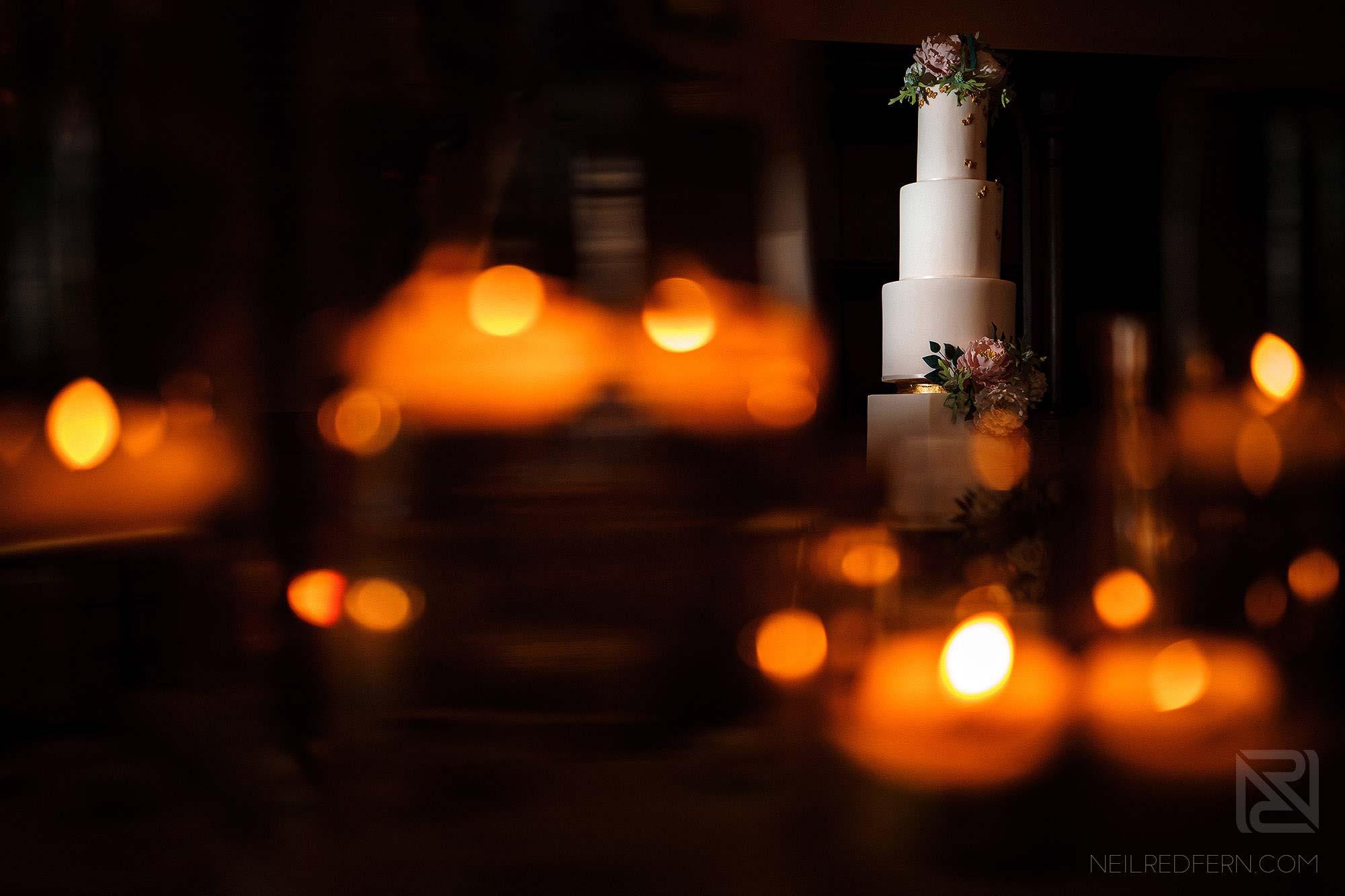 creative photograph of wedding cake at Peckforton Castle