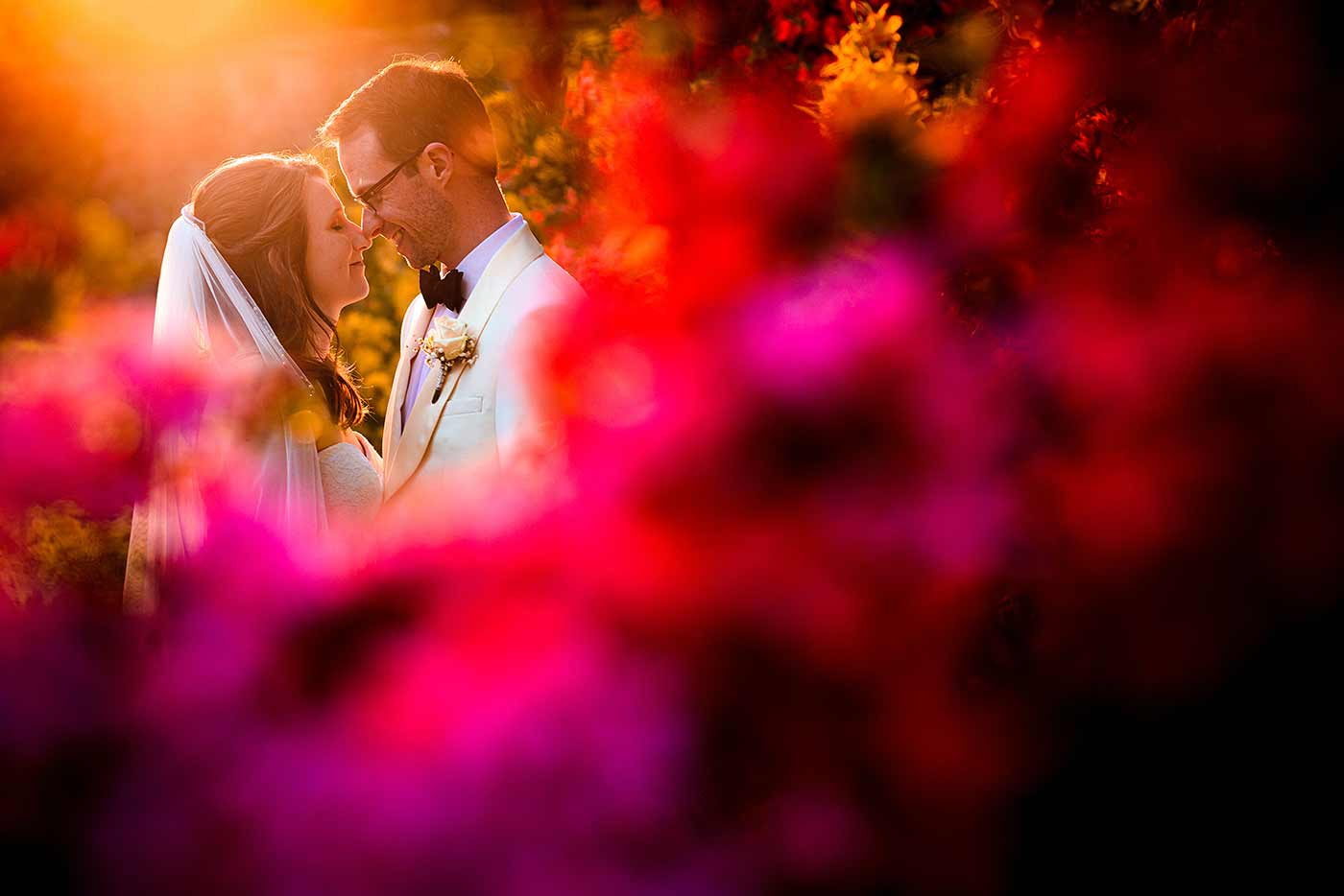 creative bride and groom portrait taken at sunset